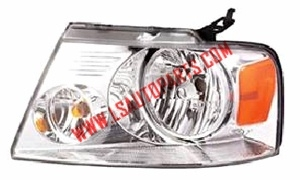 PICKUP F150'04-'08 Headlamp  chomed/Amber reflector/clear lens H13/3157A/W5W